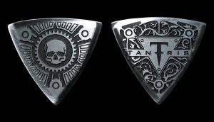 Image of Tantris Arced etched steel guitar pick