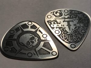 "Image of Tantris ""Standard"" Model etched steel guitar pick"