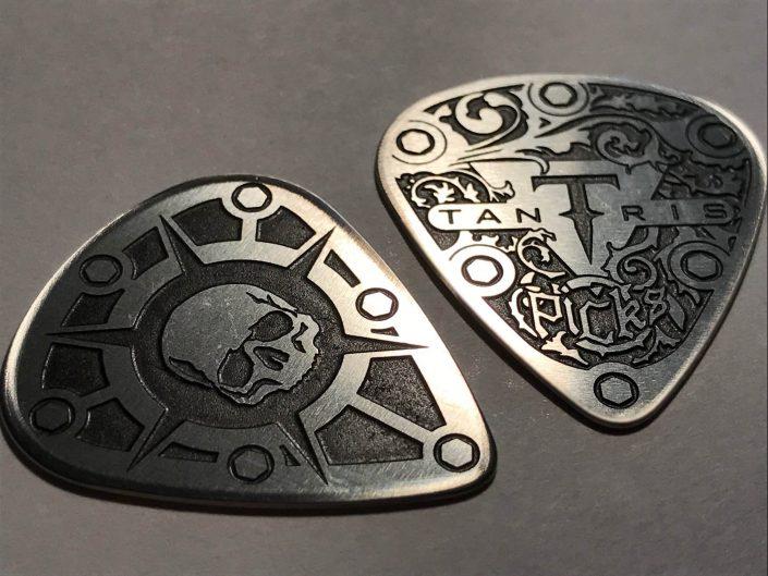 """Image of Tantris """"Standard"""" Model etched steel guitar pick"""