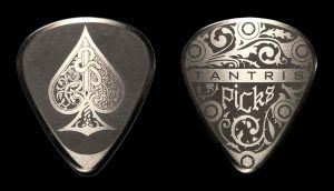 "Image of Tantris ""Ace of Spades"" etched steel guitar pick"