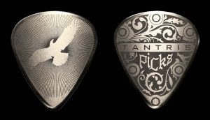 "Image of Tantris ""Eagle"" etched steel guitar pick"
