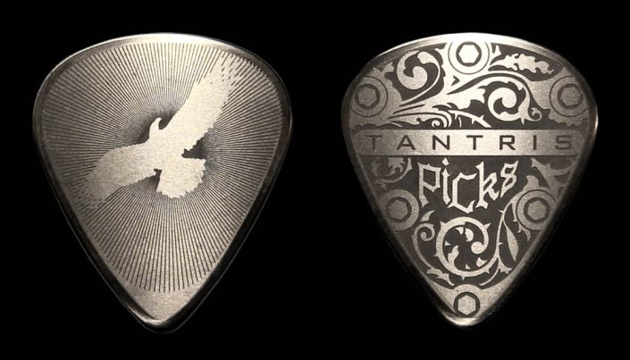 "Image of Tantris ""Eagle"" etched steel guitar pick"