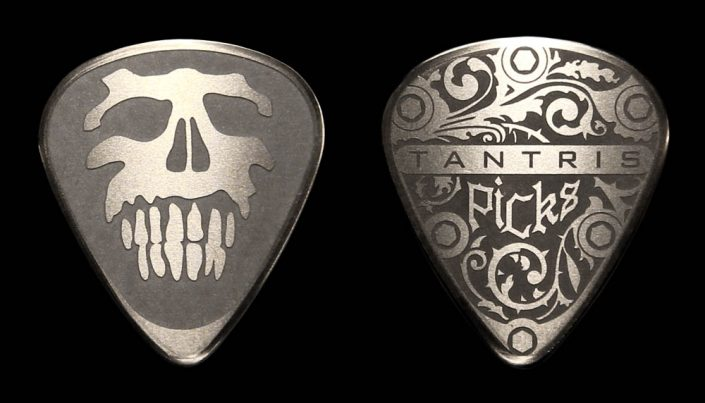 "Tantris ""Skull"" etched steel guitar pick"