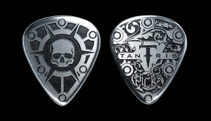 Image of Tantris Standard etched steel guitar pick