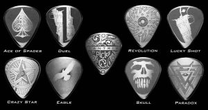 Image of Tantris Series 1 etched steel guitar picks