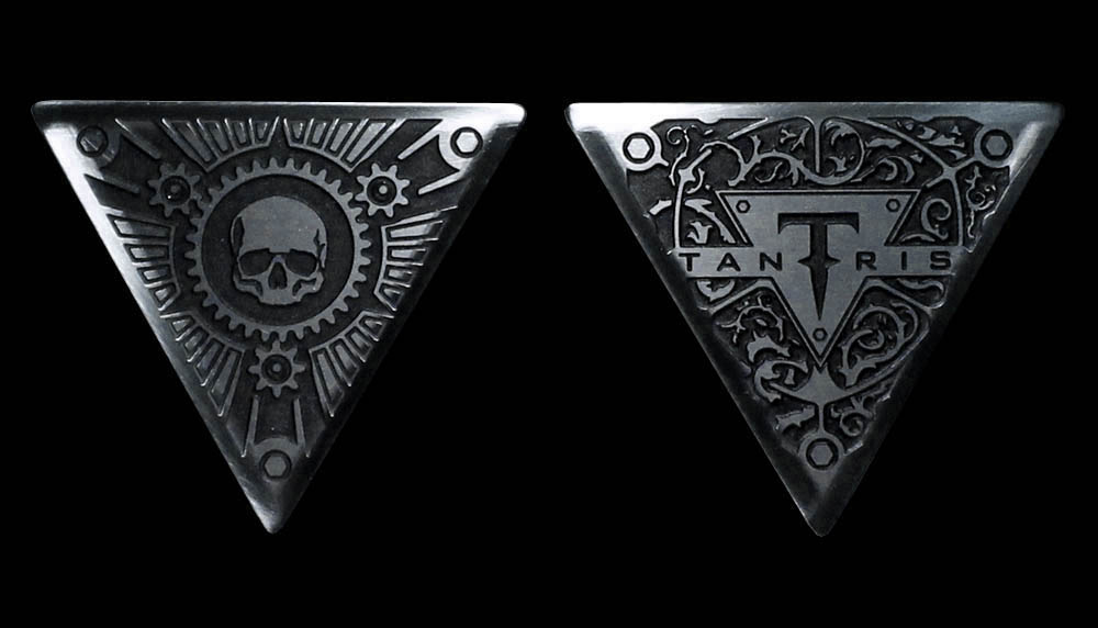 Image of Tantris Triangular etched steel guitar pick