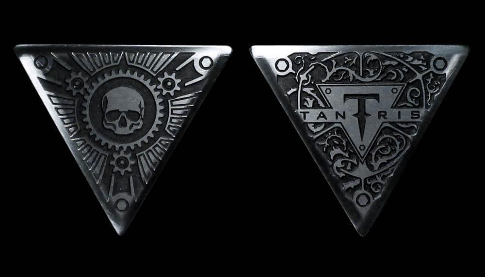 Image of Tantris Triangular etched steel guitar pick
